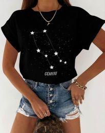 Дамска тениска с принт черно - код 2342