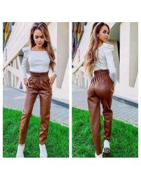 Кафяв дамски панталон с висока талия - код 9199