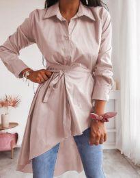 Стилна дамска риза в светлорозово - код 6944