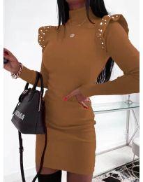 Елегантна рокля по тялото в кафяво - код 2323