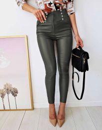 Втален дамски кожен панталон в масленозелено - код 9823