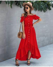 Свободна дълга рокля в червено - код 564