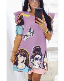 Свободна рокля в лилаво с ефектни апликации - код 546