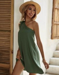 Свободна рокля с едно рамо в масленозелено - код 7003