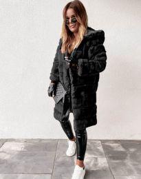 Пухкаво дамско палто в черно - код 1134