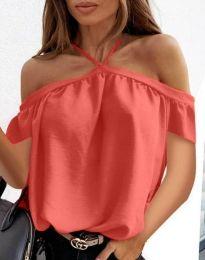 Атрактивна дамска блуза в цвят корал  - код 4253