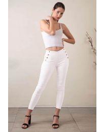 Стилен дамски панталон в бяло - код 733