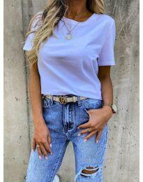 Дамска изчистена тениска в бяло - код 5233