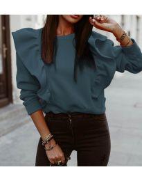 Дамска блуза в цвят тюркоаз - код 3890