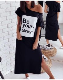 Свободна рокля в черно с принт - код 0506