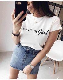 Тениска в бяло с ефектен надпис - код 3580