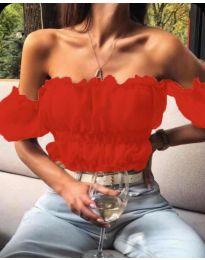 Дамска блуза с голи рамене в червено - код 060