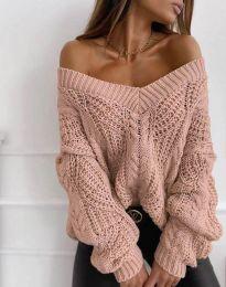 Дамски пуловер в цвят пудра - код 1637