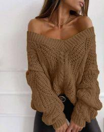 Дамски пуловер в кафяво - код 1637