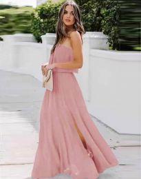 Дамска рокля в розово с цепка - код 8871