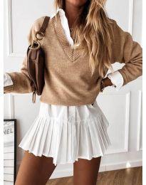 Дамски пуловер в цвят капучино - код 6012