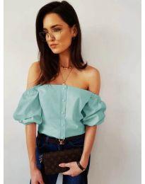 Дамска блуза с паднали къси ръкави в тюркоазено - код 243