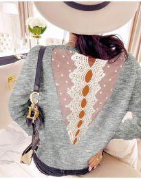 Дамска блуза с дантела в сиво - код 7077