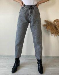Дамски дънки широки с висока талия в сиво - код 2481
