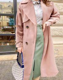 Дамско дълго елегантно палто с копчета и колан в розово - код 1635