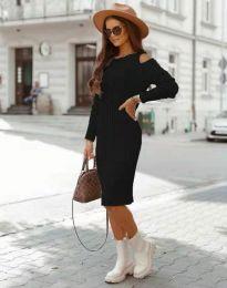 Модерна дамска рокля в черно - код 8203