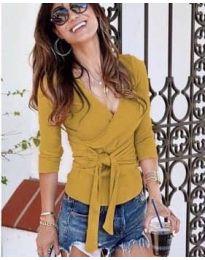 Дамска блуза в цвят горчица - код 9291