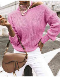 Дамски ефектен пуловер в розово - код 1804