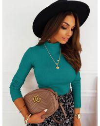 Дамска блуза с поло яка в цвят тюркоаз - код 7071
