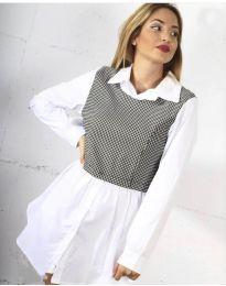 Дамска риза в бяло - код 9990 - 1