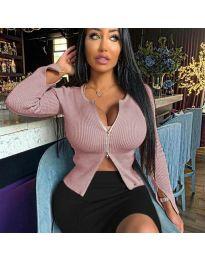 Дамска блуза с цип в цвят пудра - код 3991