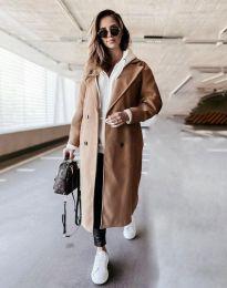Дълго дамско палто в цвят капучино - код 8492