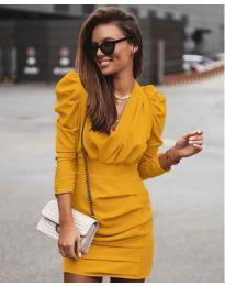 Елегантна рокля в цвят горчица - код 870