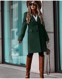 Дълго дамско палто в маслено зелено - код 4554