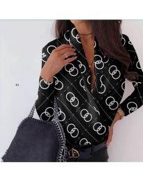 Риза-боди в черно с ефектен десен - код 688