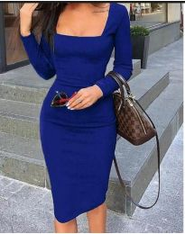Стилна изчистена рокля по тялото в синьо - код 3450