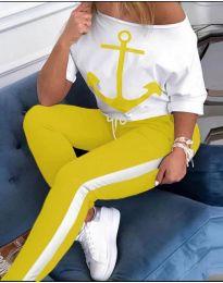 Дамски екип с принт котва на блузата в жълто - код 760