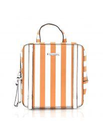 Дамска чанта на райе в оранжево - код 5585