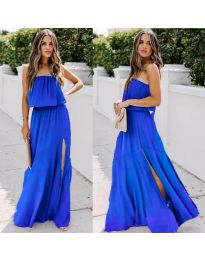 Дълга рокля с цепка в цвят   тъмно синьо - код 061