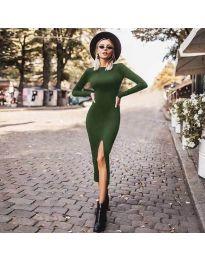 Стилна рокля по тялото с цепка в зелено - код 4177