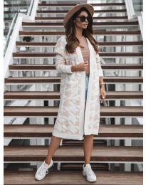 Дълга дамска жилетка в бяло с бежови мотиви - код 5517