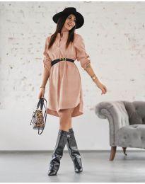 Дамска рокля в цвят пудра - код 9601