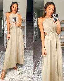 Атрактивна дълга рокля в бежово - код 6121