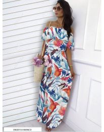 Бяла рокля с флорален десен - код 354