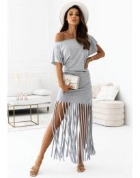 Атрактивна дамска рокля в сиво - код 12003