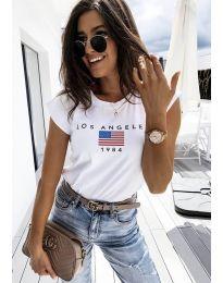 Бяла тениска с принт - код 6336