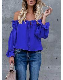 Блуза с лодка деколте в тъмно синьо  - код 5574