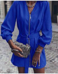Дамска рокля с цип в синьо - код 820