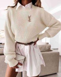 Дамски свободен пуловер в цвят шампанско - код 4180
