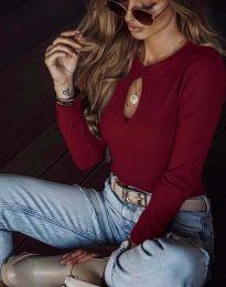 Ефектна дамска блуза в бордо - код 2859