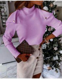 Екстравагантна дамска блуза в лилаво - код 1596